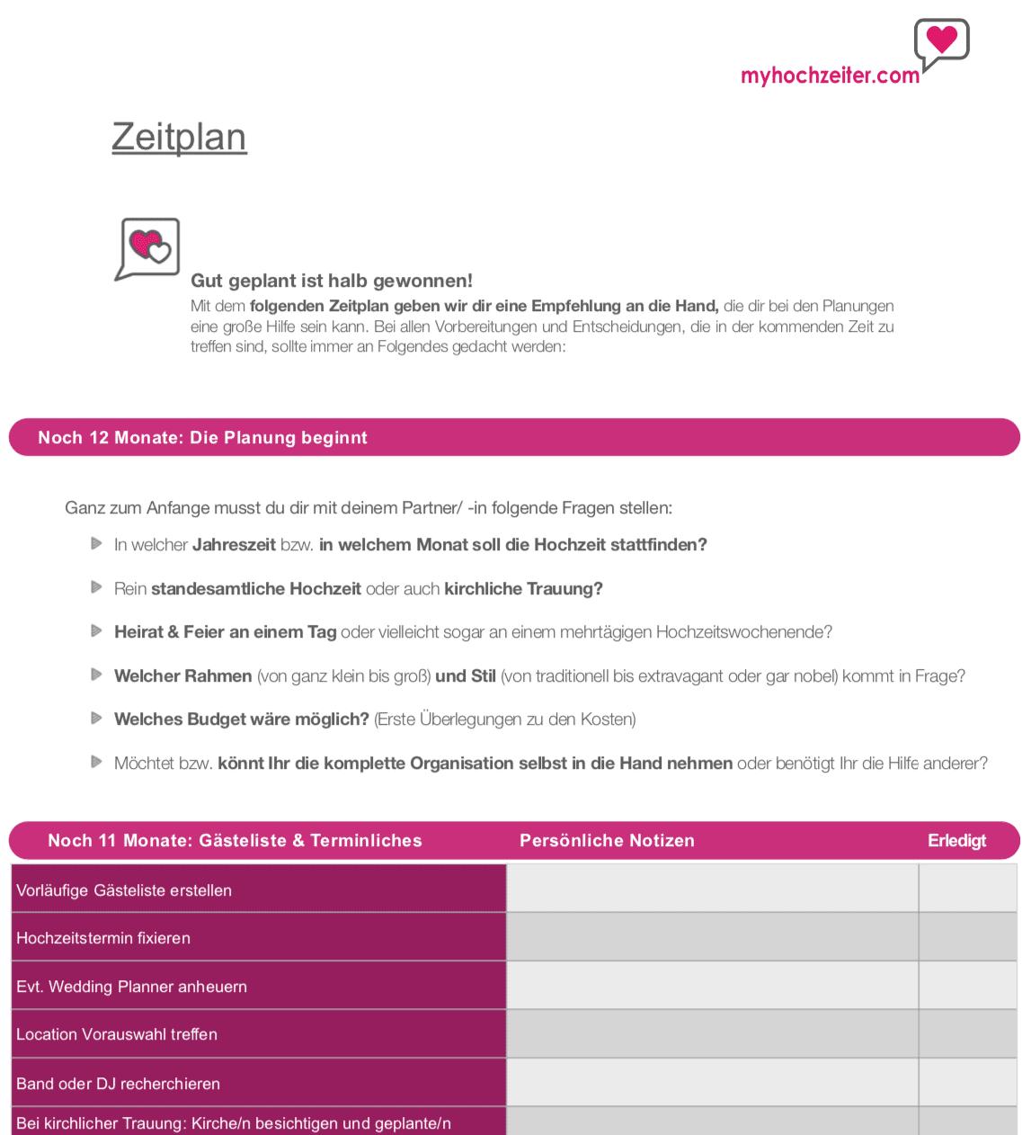 Checkliste Hochzeit PDF Download